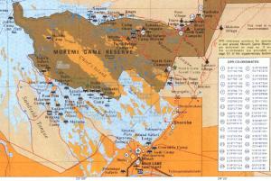 Un mapa que ubica la situación del Parque Moremi