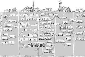 Un dibujo muestras las galerías de Derinkuyu