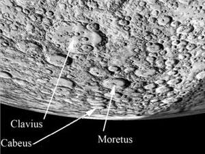 El polo sur lunar con sus cráteres más conocidos