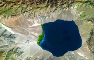 Imagen del Uvs Nuur, lago salado de Mongolia