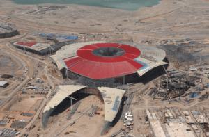 Una vista aérea del Ferrari World de Abu Dhabi