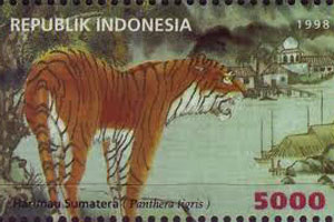Un tigre de Sumatra en un sello indonesio