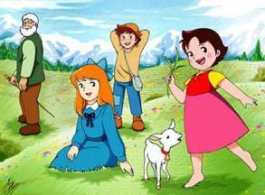 La pequeña Heidi, con su familia en las montañas