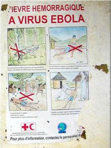 Un cartel informa del Ébola en el Congo