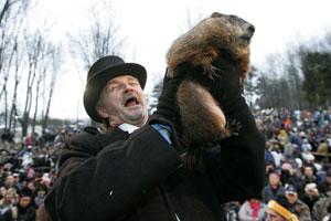 Una conocida marmota predice el fin del invierno