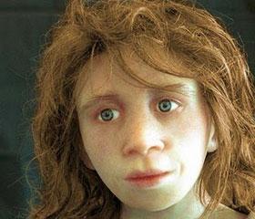 Una recreación de un niño neandertal