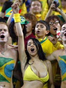 La torcida brasileira celebra un gol