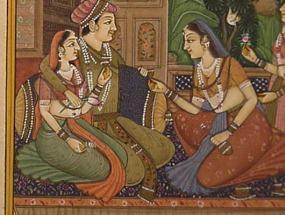 Una antigua pintura hindú con una escena galante