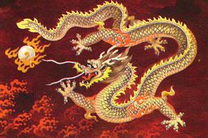 Un dibujo de un dragón de estilo asiático