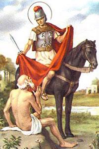 Un dibujo muestra a San Martín socorrido por un romano
