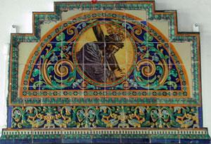 Un azulejo con la imagen de Jesús de la Pasión