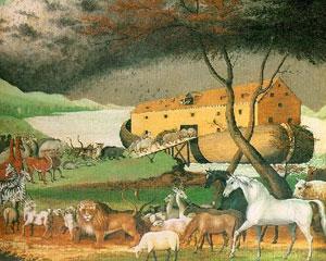 Un cuadro recrea parejas de animales subiendo al Arca de Noé
