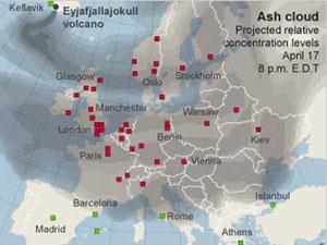 : Un mapa muestra una nube de ceniza volcánica sobre Europa