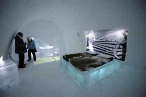 Una habitación del conocido Ice Hotel de Suecia