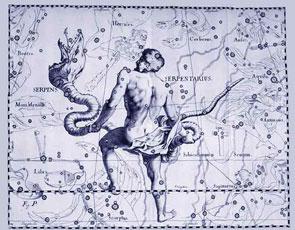 Un hombre con una serpiente representa la constelación de Ofiuco