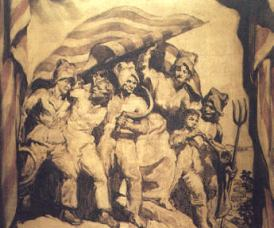 Una pintura con la imagen más conocida de Els segadors